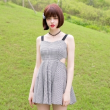 Linjou2016 small black and white Plaid high waist slim slim strap dropped waist strapless backless sleeveless summer dress