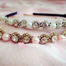 Hhong daily headband white color Pearl rhinestone hair accessories