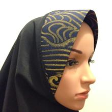 Kyoto Nishijin of hijab (wear type) navy blue x Gold
