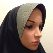 Kyoto Nishijin of hijab (wear type) black  × thin green
