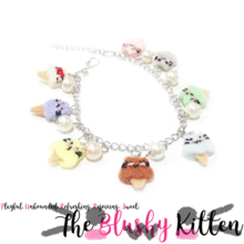 The Blushy Kitten Ice Cream Hybrid Felt Stainless Steel Charm Bracelet [READY TO SHIP]