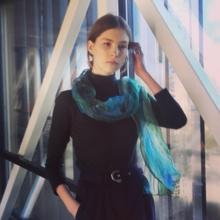 Blue green chiffon silk scarf