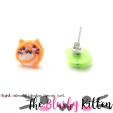 The Blushy Kitten Swirl Candy Felt Stainless Steel Stud Earrings [READY TO SHIP]