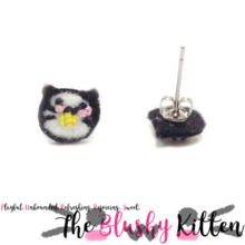 Maki Sushi Kitten Felt Stainless Steel Stud Earrings [READY TO SHIP]