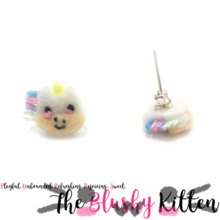 The Blushy Unicorn Felt Stainless Steel Stud Earrings [READY TO SHIP]