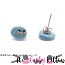 The Blushy Birdie Felt Stainless Steel Stud Earrings [READY TO SHIP]