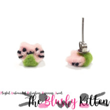 The Blushy Kitten Mochi Kitten Felt Stainless Steel Stud Earrings
