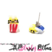 The Blushy Kitten Popcorn Kitten Felt Stainless Steel Stud Earrings [READY TO SHIP]