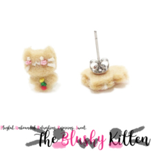 The Blushy Kitten Gingerbread Kitten Felt Stainless Steel Stud Earrings [Ready to Ship]