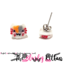 The Blushy Kitten Anime Fan Art Nyanko Sensei Felt Stainless Steel Stud Earrings [READY TO SHIP]