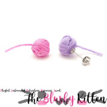 The Blushy Kitten Yarn Ball Felt Stainless Steel Stud Earrings [READY TO SHIP]