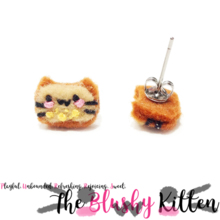 The Blushy Kitten Banana Bread Hybrid Felt Stainless Steel Stud Earrings [READY TO SHIP]