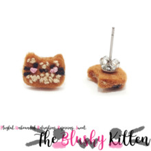 The Blushy Kitten Butter Crunch Felt Stainless Steel Stud Earrings [READY TO SHIP]