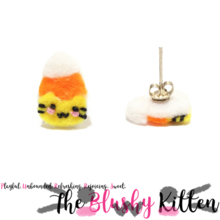 The Blushy Kitten Candy Corn Hybrid Felt Stainless Steel Stud Earrings [READY TO SHIP]