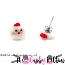 The Blushy Kitten Chicken Felt Stainless Steel Stud Earrings [READY TO SHIP]