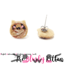 The Blushy Kitten Cinnamon Roll Hybrid Felt Stainless Steel Stud Earrings [READY TO SHIP]