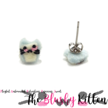 The Blushy Kitten Milk Hybrid Felt Stainless Steel Stud Earrings [READY TO SHIP]