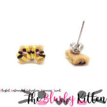 The Blushy Kitten Croissant Hybrid Felt Stainless Steel Stud Earrings [READY TO SHIP]