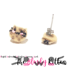 The Blushy Kitten Chocolate Chip Cookie Felt Stainless Steel Stud Earrings [READY TO SHIP]