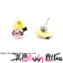 The Blushy Kitten Ramen Hybrid Felt Stainless Steel Stud Earrings [READY TO SHIP]