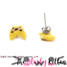 The Blushy Kitten Fortune Cookie Hybrid Felt Stainless Steel Stud Earrings [READY TO SHIP]
