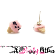 The Blushy Kitten Ice Cream Hybrid Felt Stainless Steel Stud Earrings [READY TO SHIP]