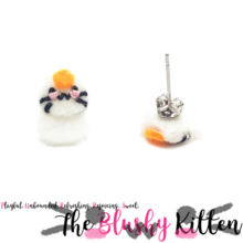 The Blushy Kitten Kagami Mochi Hybrid Felt Stainless Steel Stud Earrings [READY TO SHIP]