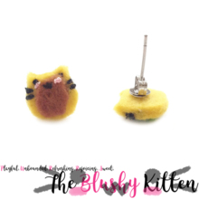 The Blushy Kitten Donut Hybrid Felt Stainless Steel Stud Earrings [READY TO SHIP]