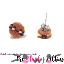 The Blushy Kitten Dorayaki Hybrid Felt Stainless Steel Stud Earrings [READY TO SHIP]