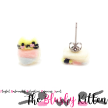 The Blushy Kitten Marshmallow Hybrid Felt Stainless Steel Stud Earrings [READY TO SHIP]