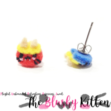 The Blushy Kitten Red Ogre and Blue Ogre Felt Stainless Steel Stud Earrings [READY TO SHIP]