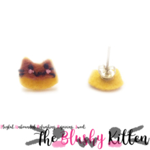 The Blushy Kitten Pudding Hybrid Felt Stainless Steel Stud Earrings [READY TO SHIP]