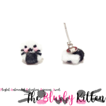 The Blushy Kitten Onigiri Hybrid Felt Stainless Steel Stud Earrings [READY TO SHIP]