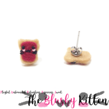 The Blushy Kitten Toast Felt Stainless Steel Stud Earrings [READY TO SHIP]