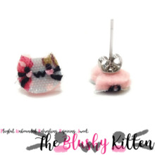 The Blushy Kitten Patterned Felt Stainless Steel Stud Earrings {READY TO SHIP}