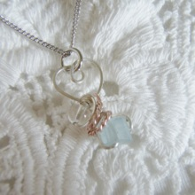 Crystal / Pale blue glass bead wire wrapped necklace  *Free shipping*