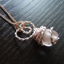 Clear pink glass beads × Rose gold wire wraped necklace  *free shipping*
