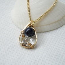 Space and Ocean  Blue gold stone necklace  *free shipping*