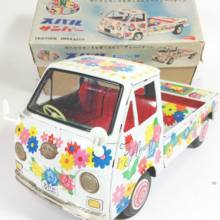 Subaru Samba Bandai made tin toy rides Fancy color rare article with friction box
