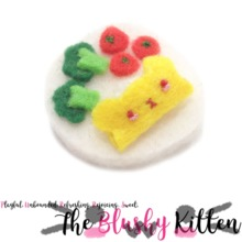 The Blushy Kitten Bear Omelette Rice Felt Brooch {READY TO SHIP}