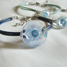 Flower Bloom Leather cord bracelet Blue / Navy (free shipping)