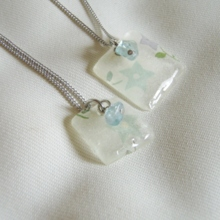 Bell flower Apatite Square Necklace (Free Shipping)