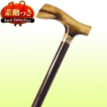 [Japan wooden stick] No.45 black persimmon L type handle