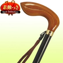 [Japan wooden stick] No.164 Oak Leaf type handle stick