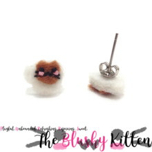 The Blushy Kitten Hot Chocolate Hybrid Felt Stainless Steel Stud Earrings {READY TO SHIP}