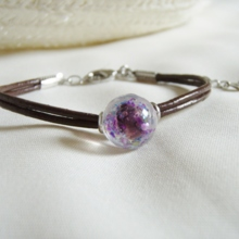 Purple light Leather bracelet (free shipping)