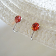Crimson Ryukyu glass clip earrings (free shipping)