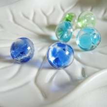 Sea and Forest Ryukyu glass Pierced Eearrings (free shipping)