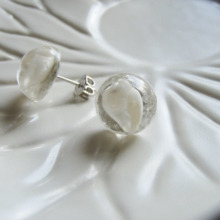 White Sand Beach Shell Pierced Earrings (free shipping)