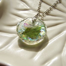 Leaf and Glitter Wire Wrapped Necklace(free shipping)